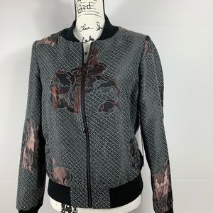 BEBE Floral Tapestry Bomber Jacket NWT